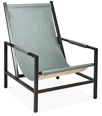 One Kings Lane Wright Sling Chair - Gunmetal/Storm Leather