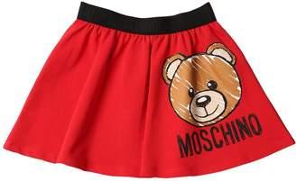 Moschino Bear Print Cotton Fleece Skirt