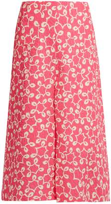 DURO OLOWU Ivy abstract-print A-line cloqué midi skirt