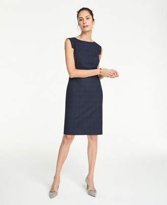 Ann Taylor Petite Windowpane Boatneck Sheath Dress