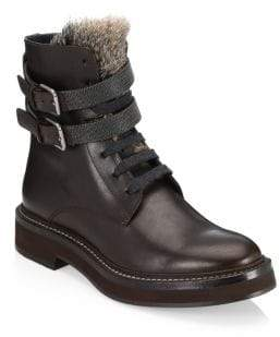 Brunello Cucinelli Fur Strap Leather Combat Boots
