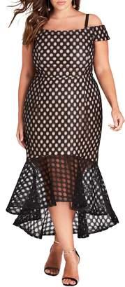 City Chic Envie Cold Shoulder Mesh Mermaid Dress