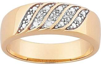 Generic Men's 7mm Diamond Accent Two-Tone Gold-Plated Wedding Band