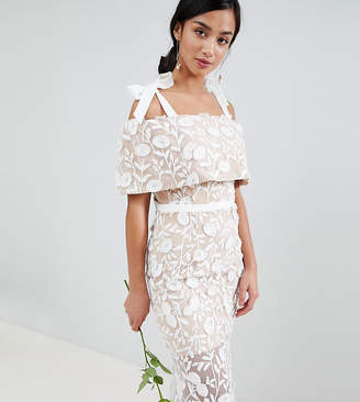 Jarlo Petite All Over Embroidered Lace Maxi Dress With Tie Shoulder Detail