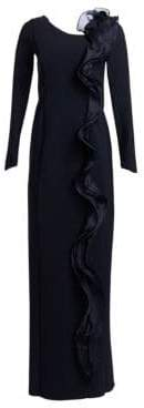 Teri Jon by Rickie Freeman Scuba Long-Sleeve Side Ruffle Column Gown