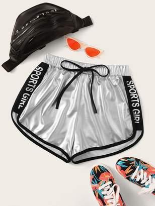 Shein Contrast Binding Metallic Dolphin Shorts
