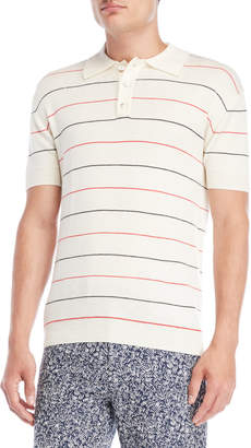 Le Mont St Michel Stripe Short Sleeve Wool Polo Sweater