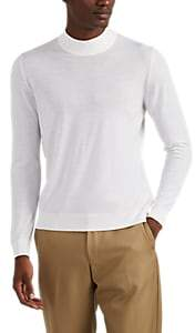 Kiton Men's Fine-Gauge Wool Mock-Turtleneck Top - White