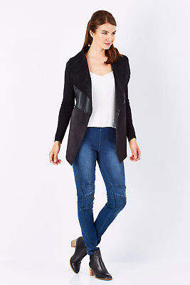 NEW bird by design Womens Jackets The Faux Leather Knit Jacket Black