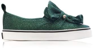 RED Valentino Dark Green Crackled Metallic Leather Slip On Sneakers