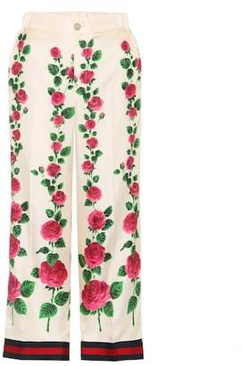 Gucci Floral-printed silk trousers
