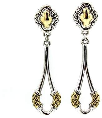 Scott Kay 925 Sterling Silver and 18K Yellow Gold Drop Earrings