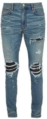 Amiri - Mx1 Leather Patch Slim Leg Jeans - Mens - Blue