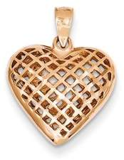 JewelryWeb 14k Rose Gold Open Solid Hollow Polished Sparkle-Cut Puff Heart Pendant - 2.2 Grams