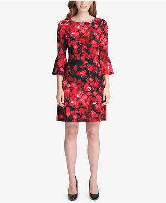 Tommy Hilfiger Mini Daisy Chain Print Jersey Bell Sleeve A-line Dress