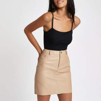 River Island Womens Nude faux leather mini skirt