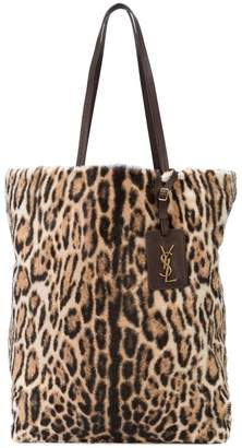Saint Laurent leopard fur shopper bag