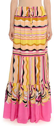 Emilio Pucci Guanabana-Print Tiered Maxi Skirt