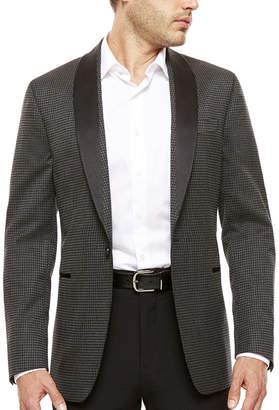 Jf J.Ferrar Black Grey Houndstooth Slim Sport Coat