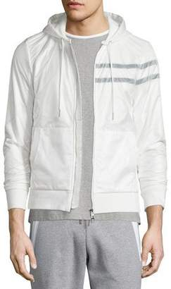 Moncler Nylon Zip-Up Hoodie, White $665 thestylecure.com