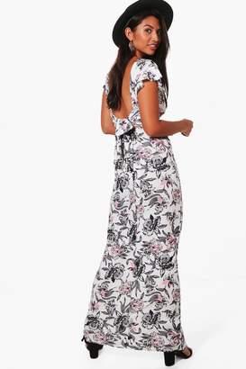 boohoo Frill Sleeve Backless Floral Maxi Dress
