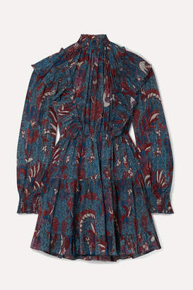 Ulla Johnson Vienne Ruffled Printed Cotton-blend Crepon Mini Dress - Navy