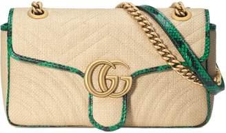 Gucci Online Exclusive GG Marmont raffia small shoulder bag