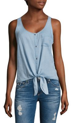 AG Jeans AG Cynthia Tie-Waist Chambray Tank Top
