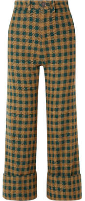 Sea Ethno Pop Checked Wool-blend Straight-leg Pants - Green