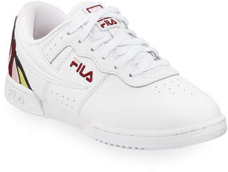Fila Original Fitness Floral Embroidered Rose Leather Sneakers
