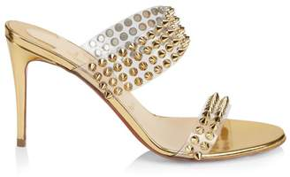1589ca96136 Christian Louboutin Spikes Only 85 Translucent   Leather Mule Sandals