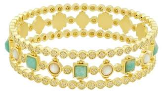 Freida Rothman 14K Yellow Gold Plated Sterling Silver Amazonian Allure Semi-Precious Stone Bracelet Set