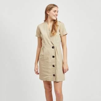 Vila Visemah Wrapover Linen Mix Shirt Dress with Bottons