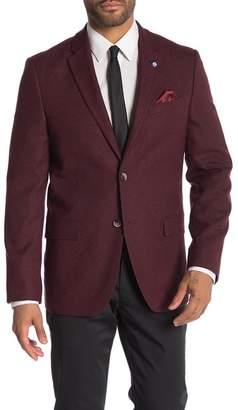 Ben Sherman Burgundy Melange Two Button Notch Lapel Sport Coat