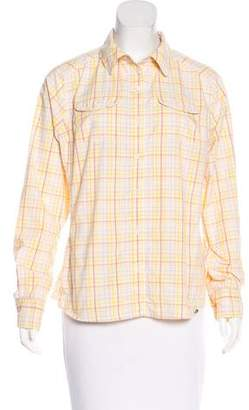 The North Face Plaid Print Button-Up Top