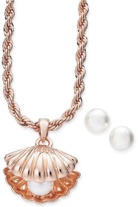 Charter Club Rose Gold-Tone 2-Pc. Set Imitation Pearl Oyster Pendant Necklace & Stud Earrings