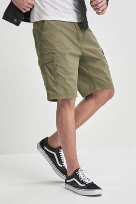 Next Mens Khaki Cotton Military Cargo Shorts - Green