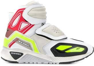 perforated hi-top sneakers