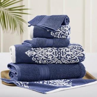 Pacific Coast Textiles 6 Piece reversible yarn dyed jacquard towel set Artesia Damask Indigo