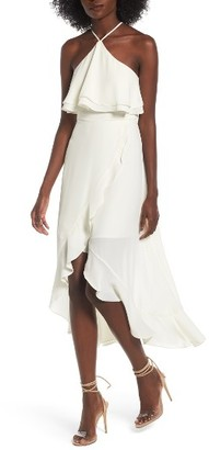 Women's Dee Elly Ruffle Halter Midi Dress $65 thestylecure.com
