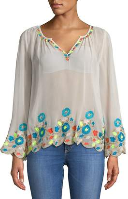 Plenty by Tracy Reese Women's Border Embroidered Peasant Top