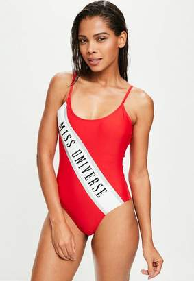 Missguided Red Graphic Swimsuit