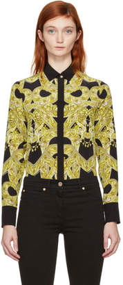 Versace Black Silk Baroque Shirt