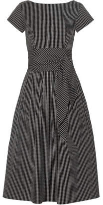 Michael Kors Collection - Checked Cotton-blend Poplin Midi Dress - Black $1,395 thestylecure.com