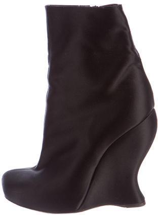 Bottega VenetaBottega Veneta Satin Wedge Ankle Boots