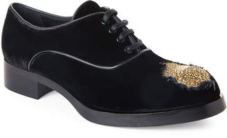 Aleksander Siradekian Black & Gold Nova Embellished Velvet Oxfords