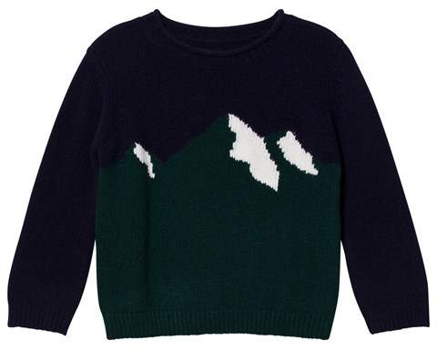Navy and Green Mountain Intarsia Sweater