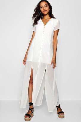 boohoo Chiffon Button Through Sliced Maxi Dress