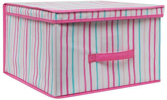 Laura Ashley Jumbo Collapsible Storage Box in Painterly Pink Stripe