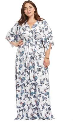 Theory White Label Long Caftan Dress - Paisley, Plus Size